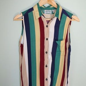 Vintage Sleeveless Rainbow Button down Shirt